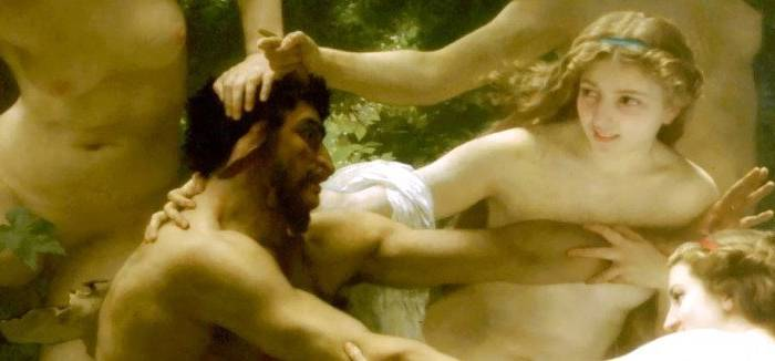 The Sensual Fairy and the Dark Faun - Nymphs and Satyr - Detail - William Adolphe Bouguereau - 1873